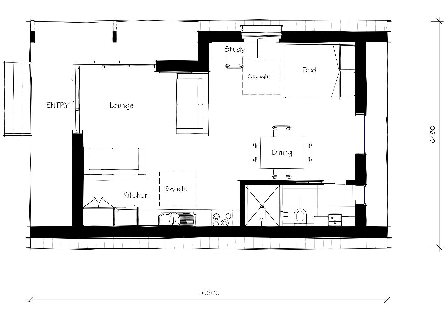 backyard studio floor plan