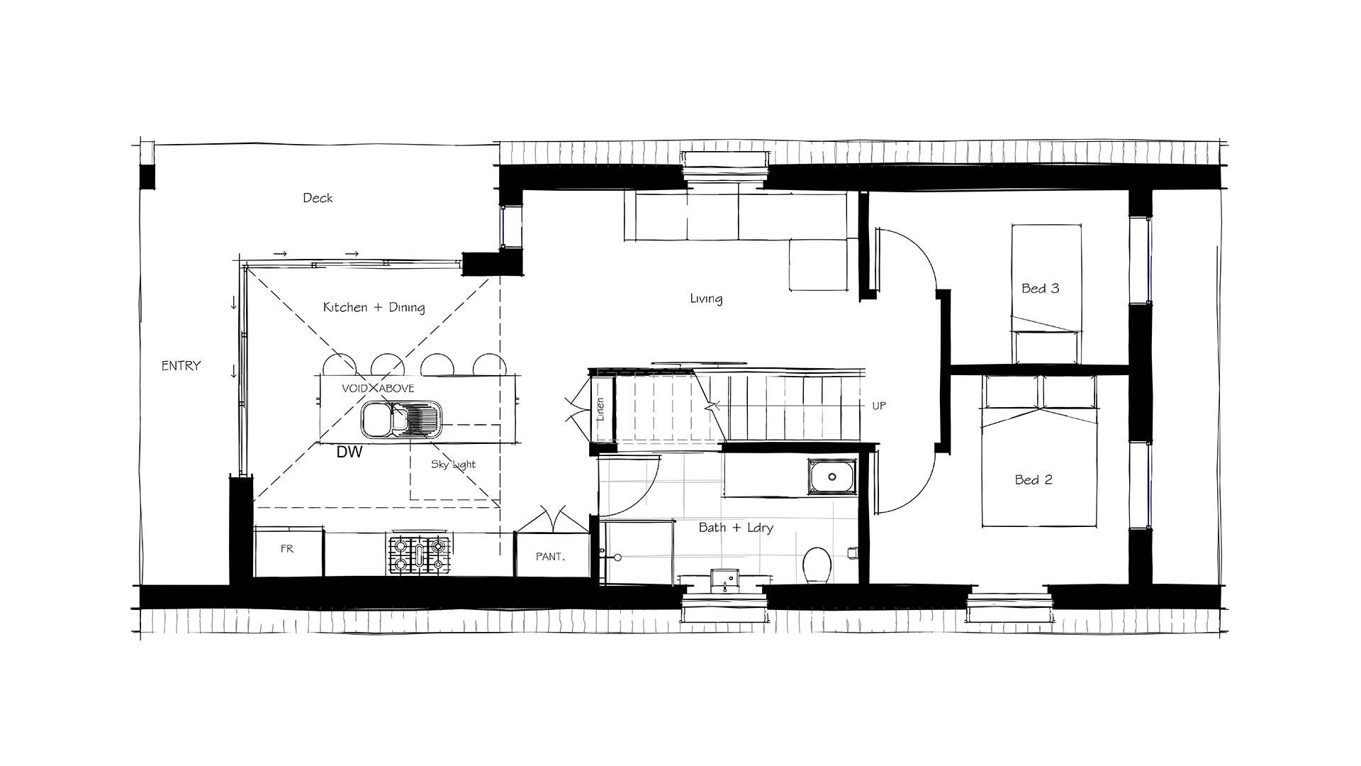 clever designed home floorplan