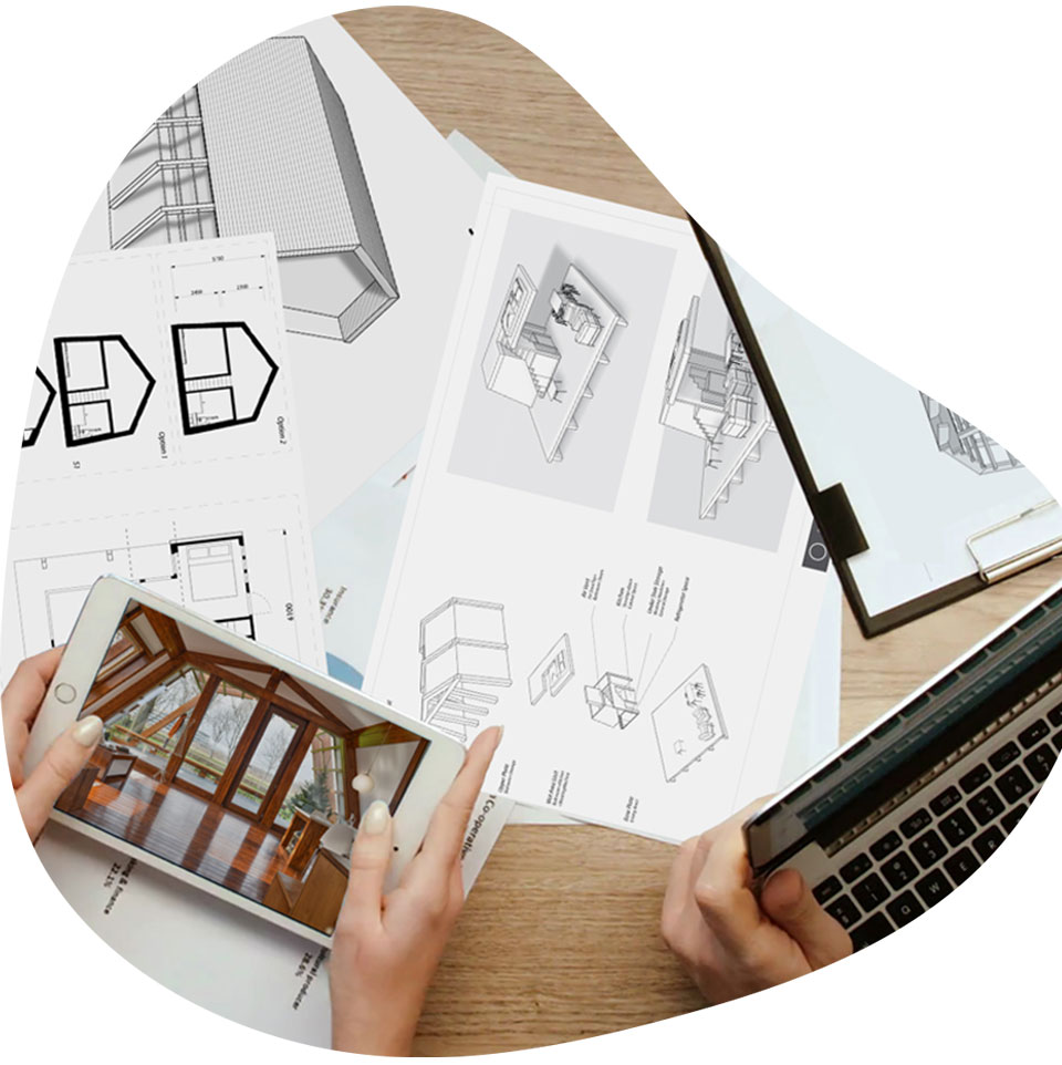 designs and floorplans of ecokit in 3D models on the table