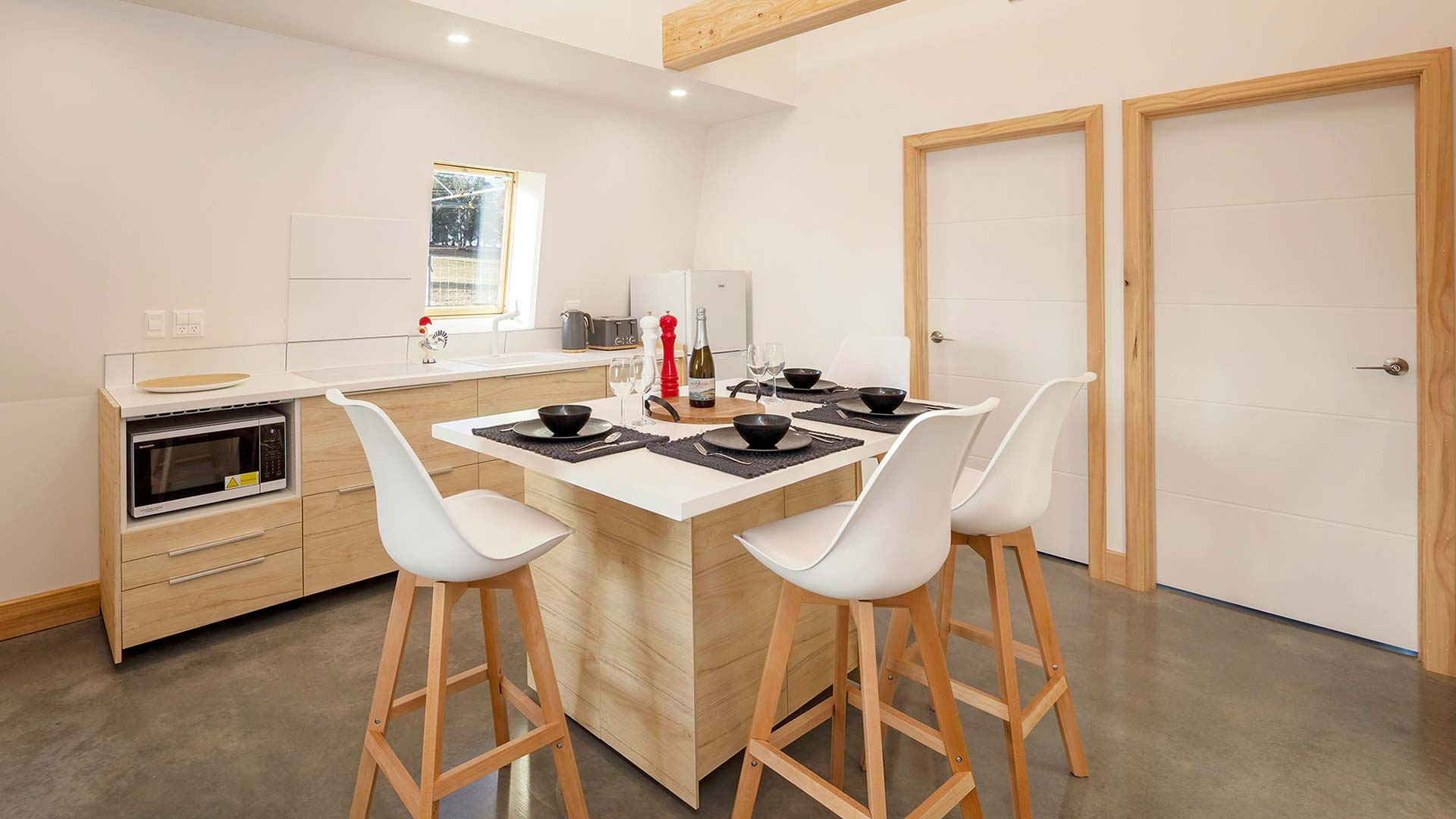 kitchen in the ecokit house with the top quality appliances and wooden design features