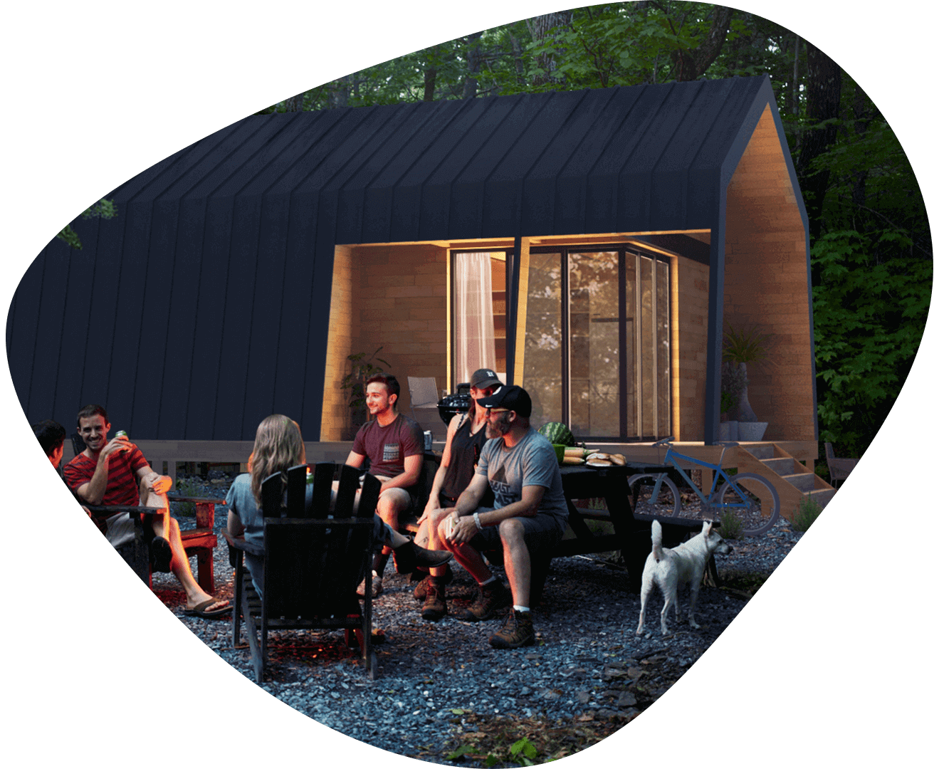 ecokit house visualization in the forest with the friends and the fire